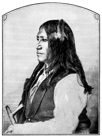 An engraved illustration of Spotted Tail a native American Indian and a chief of the Sioux, from a Victorian book dated 1880 that is no longer in copyright illustration