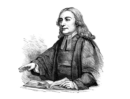 An engraved portrait illustration of John Wesley (1703-91), an Anglican cleric who formed the Methodist movement, from a Victorian book dated 1883 that is no longer in copyright 写真素材
