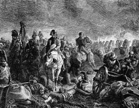 An engraved vintage illustration image of Napoleon Bonaparte with his army at the Battle of Waterloo, from a Victorian book dated 1883