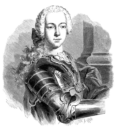 bonnie: An old vintage engraved illustration portrait of Bonnie Prince Charlie the Young Pretender, from a Victorian book dated 1883