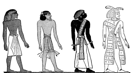 ancient civilisations: An old vintage engraved illustration showing the four races of men as depicted by ancient Egyptian hieroglyphics of the 19th dynasty in 1500bc, from a Victorian book dated 1880