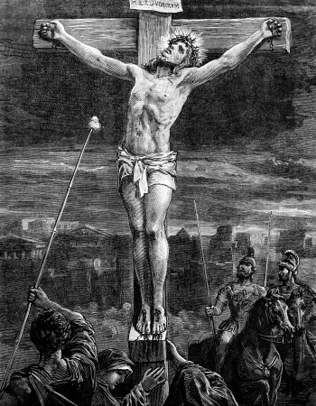 gospels: An engraved vintage illustration image of  The Crucifixion of Jesus Christ, from a Victorian book dated 1881