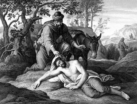 bondad: Una imagen grabada ejemplo del vintage de la parábola del Buen Samaritano, de un libro de estilo victoriano con fecha 1879