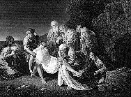 An engraved illustration image of the entombment of Jesus Christ, from a Victorian book dated 1879 that is no longer in copyright