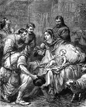 An engraved vintage illustration image of the Nativity of Jesus Christ, from a Victorian book dated 1881 that is no longer in copyright