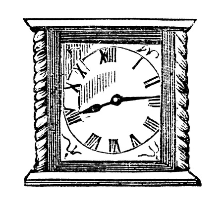 dated: An engraved vintage illustration image of a clock, from a Victorian book dated 1870 that is no longer in copyright Stock Photo