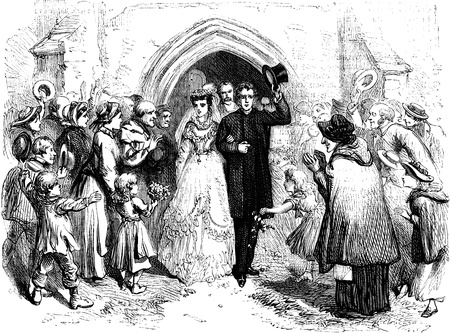 19th century: An engraved vintage illustration image of a wedding, from a Victorian book dated 1870 that is no longer in copyright