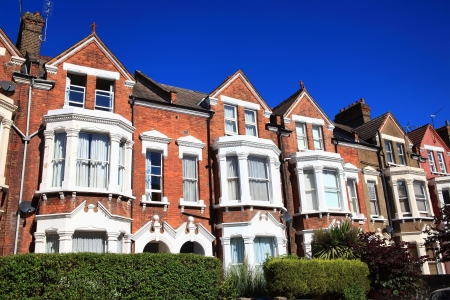 Victorian terraced town houses in London, England, UK 写真素材