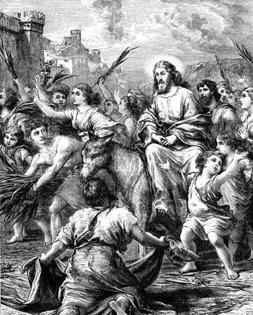 An engraved illustration image of Jesus Christ s entry into Jerusalem