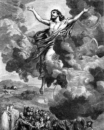 resurrección: Una ilustración grabada la imagen de la Ascensión de la resurrección de Jesús Cristo s en el cielo
