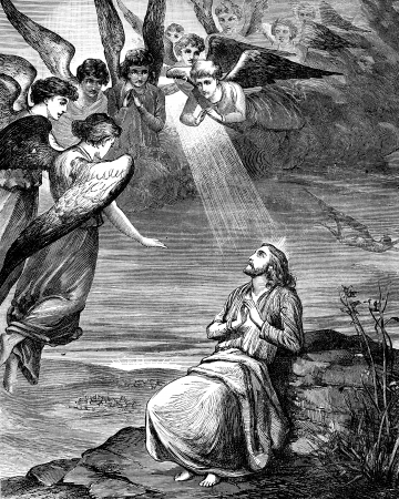 An engraved illustration image of the Temptation of Jesus Christ Editorial