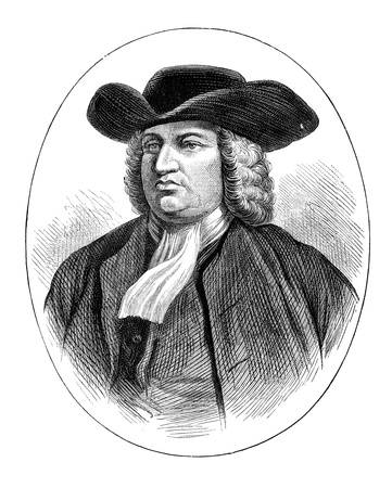 An engraved vintage illustration portrait of William Penn the founder of the Province of Pennsylvania, from a Victorian book dated 1883 that is no longer in copyright Stock Illustration - 17900109