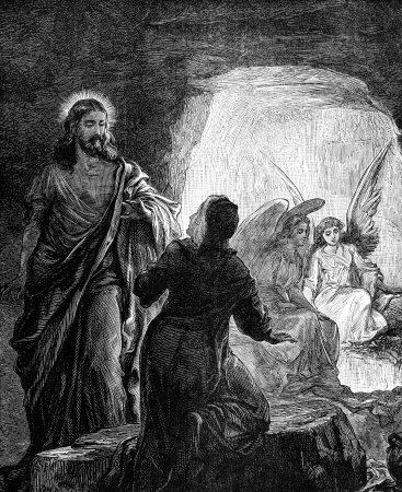 gospels: An engraved vintage illustration image of  The Resurrection of Jesus Christ, from a Victorian book dated 1881 that is no longer in copyrigh
