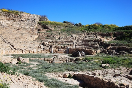 fabrica: 3rd Century BC Roman Hellenic Amphitheatre recently discovered at Fabrica Hill, Paphos, Cyprus Stock Photo