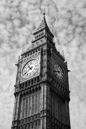 Black and white, monochrome image of the clock face of Big Ben of the Houses Of Parliament in Westminster, London, England, UK which was built on the site of the Royal Palace Of Westminster, in a Gothic style, after a fire in 1834 photo