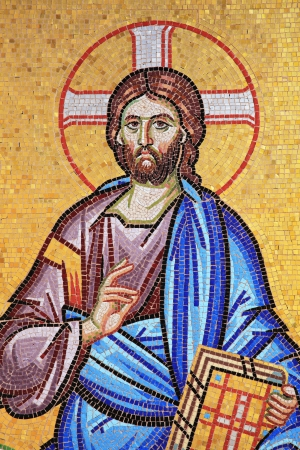 Mosaic of Jesus Christ from the exterior of  the ancient Kykkos Monastery in the Troodos Mountains Cyprus photo