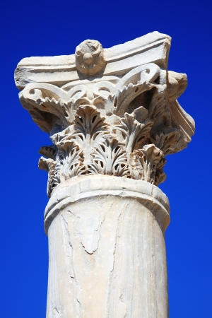 civilisations: Roman Column at the Paphos Archaelogical Park, Cyprus Stock Photo