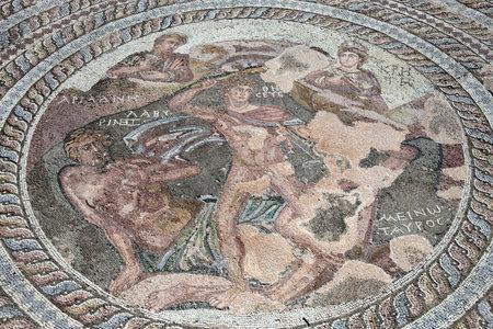 civilisations: Roman mosaic of Theseus and the Minotaur at the Villa of Theseus, Paphos Archaeological Park, Cyprus