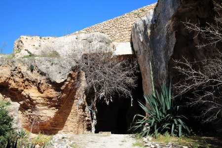 fabrica: The entrance to the Christian Catacombs at Fabrica Hill, Paphos, Cyprus, which were used as a refuge from Roman persecution
