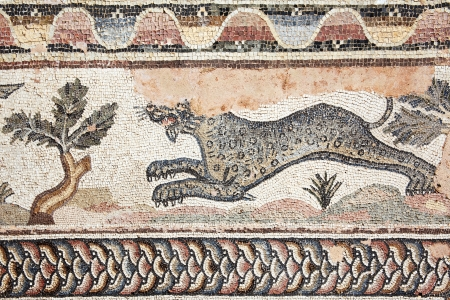 mosaic floor: Leopard from a 4th century Roman mosaic at the Villa of Theseus, Paphos Archaeological Park, Cyprus