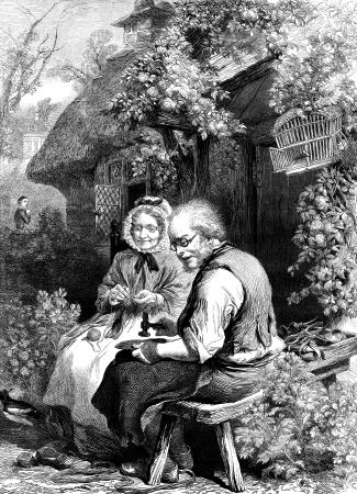 An engraved vintage illustration portrait of a cobbler and his wife working outside there quintessential thatched cottage from a Victorian newspaper dated 1866 that is no longer in copyright