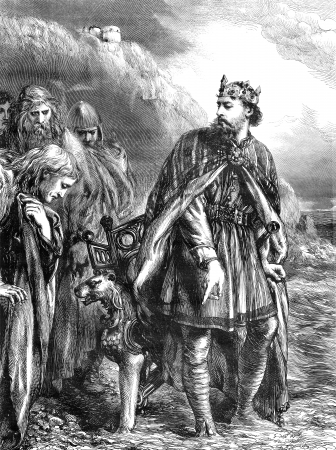 An engraved vintage illustration of  King Canute from a Victorian newspaper dated 1868 that is no longer in copyright Stock Illustration - 19481604
