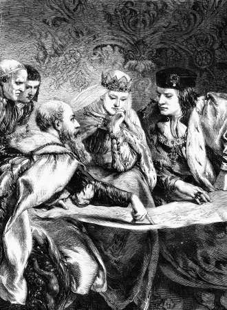 An engraved illustration of Christopher Columbus at the court of King Ferdinand and Queen Isabella, from a Victorian newspaper dated 1868 that is no longer in copyright Standard-Bild