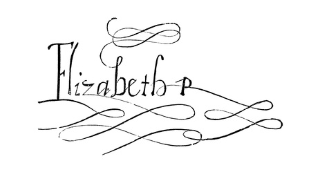 An engraved illustration image of the signature of Elizabeth I  1533-1603  queen of England, UK, sometimes known as the Virgin Queen and Good Queen Bess,  from a Victorian book dated 1883 that is no longer in copyright, Stock Photo - 19679535