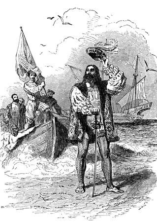 columbus: An engraved illustration portrait of Christopher Columbus landing in America from a Victorian book dated 1877 that is no longer in copyright