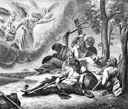 An engraved vintage illustration image of the annunciation to the shepherds of  the birth of Jesus Christ