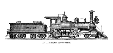 An engraved illustration image of  a vintage American locomotive from a Victorian book dated 1883