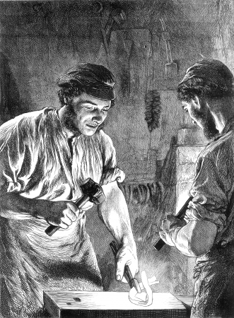 An engraved vintage illustration of two blacksmiths working together from a Victorian newspaper dated 1868  Editorial