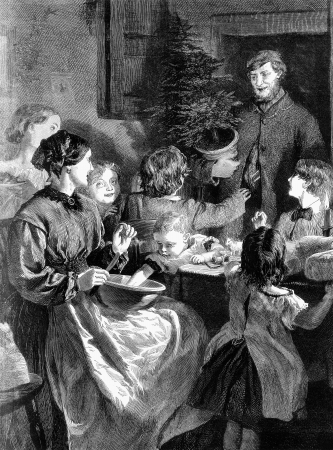 An engraved vintage family illustration of a husband bringing home a Christmas tree to his wife and children from a Victorian newspaper dated 1865 that is no longer in copyright