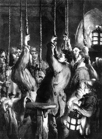 An engraved vintage illustration of bell ringers in a church belfry ringing in the New Year from a Victorian newspaper dated 1866 that is no longer in copyright illustration