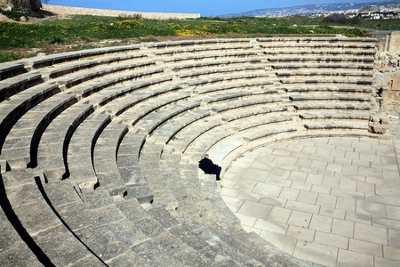 2nd century: Paphos Odeion theatre is a 2nd century Roman amphitheatre, an ancient ruin which faces the Mediterranean Sea and has been partially restored  to host music concerts at the Paphos Archaelogical Park, Cyprus Stock Photo