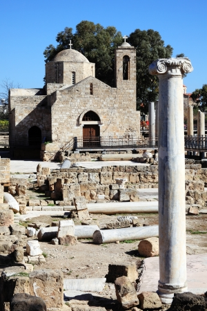 apostle paul: The 12th century church of Agia Kyriaki which in turns stands in the ruins of an earlier Christian Byzantine basilica, Paphos,Cyprus  It is the site of St Paul s Pillar a marble column on which the apostle St Paul received 39 lashes