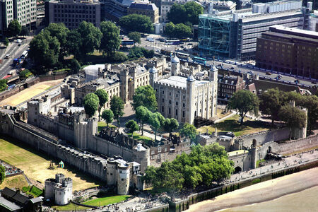 Aerial view of The Tower of London, England, UK, built by William The Conqueror in 1078 and is a Norman fortress and former royal palace standing on the north bank of the River Thames Stock Photo