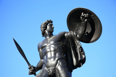 The Victorian bronze Achilles statue known as the Wellington Monument at Hyde Park Corner, London, England,UK, which was sculpted by Richard Westmacott and erected in 1822, as a monument to the Duke of Wellington photo
