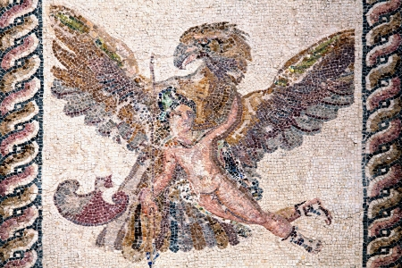 ancient civilisations: Roman mosaic of Ganymede and the Eagle from the ancient ruin of the House of Dionysos, Paphos, Cyprus