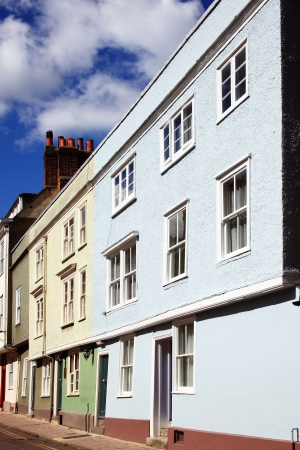 Regency Georgian and old medieval terraced town houses in Hastings, England, UK