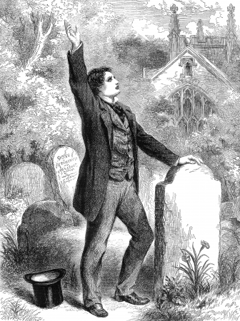 19th: An engraved vintage illustration of a Victorian man in a cemetery at a funeral, mourning in sorrow, from a Victorian newspaper dated 1863 that is no longer in copyright