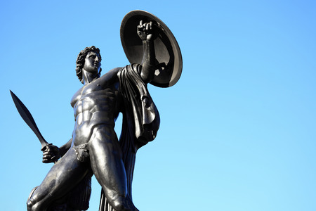 erected: The Victorian bronze Achilles statue known as the Wellington Monument at Hyde Park Corner, London, England,UK, which was sculpted by Richard Westmacott and erected in 1822, as a monument to the Duke of Wellington