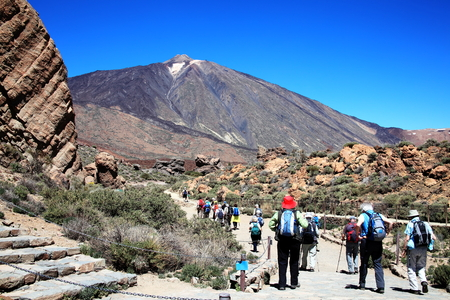 rambling: Ramblers hiking at Pico de Teide, Tenerife, Canary Islands, Spain which is a volcano in El Teide National Park