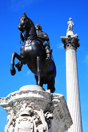napoleon i: Charles I statue completed in 1663 by Hubert Le Sueur and NelsonColumn, which rises to nearly 185 feet in the centre of Trafalgar Square, London, England, UK, and was erected to celebrate Horatio Nelson s victory at Trafalgar over Napoleon in 1805