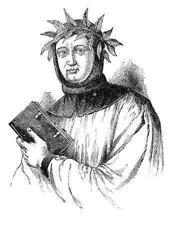 humanismo: Una imagen del retrato, ilustración, grabado de Petrarca Francesco Petrarca Foto de archivo
