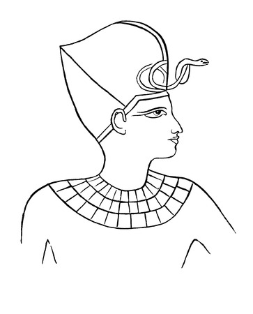 An old vintage engraved illustration showing an ancient Egyptian Pharaoh  from a Victorian book dated 1880 that is no longer in copyright illustration