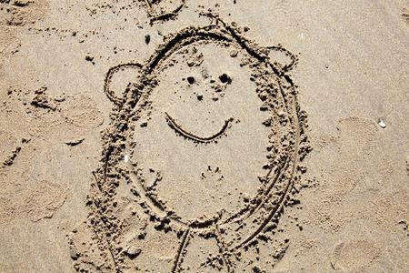 coastline: Background of a child s fun drawing on a coastline sand beach Stock Photo