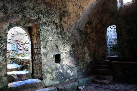 14th century: The interior of the 14th century St Govan s chapel, Bosherston, Pembrokeshire, Wales UK