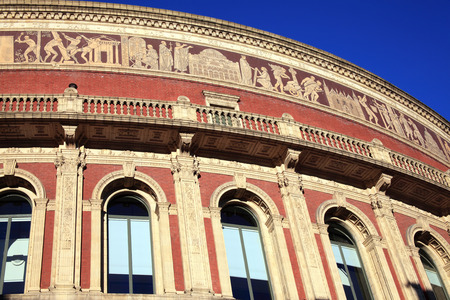 The frieze of the Royal Albert Hall, Kensington, London, England, UK, built 1867-71 to commemorate the death of Queen Victoria s beloved consort Prince Albert  It is the leading classical and opera music venue in The UK and is the home of the Proms
