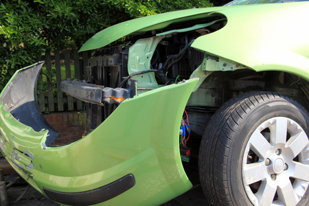 devastating: Wrecked car involved in a crash accident which will lead to an insurance business claim